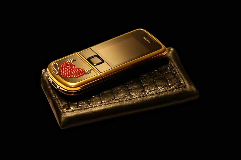 MJ Luxury Swarovski Mobile Phone Nokia 8800 Arte Heart with Crocodile Leather Cover